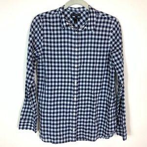 J. Crew Blue White Plaid Button Down Shirt Size 6